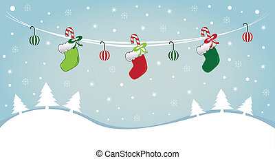 Hanging Stockings in Snow - Hanging merry Christmas ...