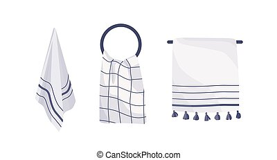 Hanging towels collection vector illustration. Kitchen and bathroom accessories set. Textile items on different hooks, hygiene attribute. Jack-towels isolated set on white background.