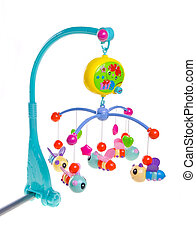 Hanging toy attached to a baby cot. Toys are officially...