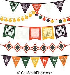 Hanging traditional mexican banners, flags, electric lights garlands.
