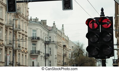 Hanging Traffic Light Regulates Cars Traffic - Hanging...