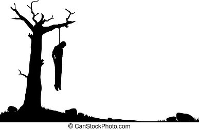 Editable vector silhouette of a man hanged from a dead tree