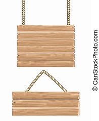 Hanging vector wooden blank sign boards isolated over white