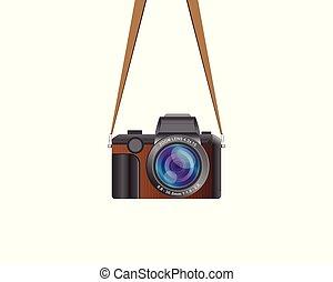 Hanging vintage camera vector illustration isolated on white background