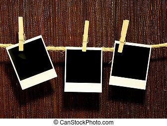 Hanging Vintage Grunge Blank Polaroids