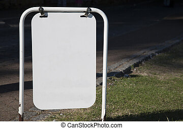Hanging White Blank Sign with Copy Space