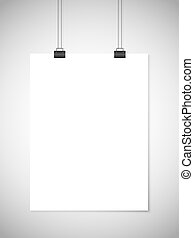 Hanging white paper against gray background. Vector template
