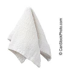Hanging White Washcloth isolated on white.
