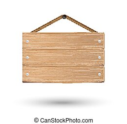 hanging wood board on a white background