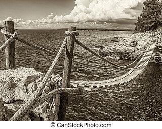 Hanging wooden bridge