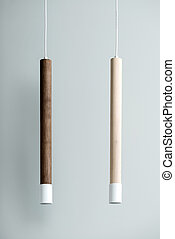 Hanging wooden tube lamps with metal parts