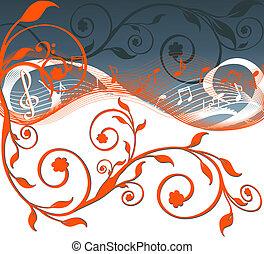 hangjegy, ábra, flowers., vektor, zene, háttér