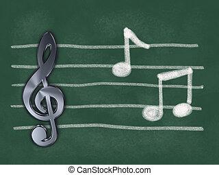 hangjegy, -, ábra, zene, chalkboard, hangjegykulcs, 3
