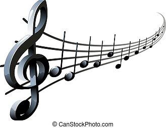 hangjegy, és, treble clef