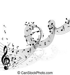 hangjegy, tervezés, zenés