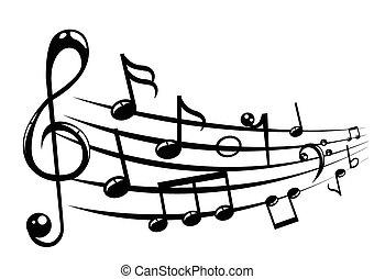 hangjegy, zenés, háttér, bot
