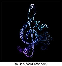 hangjegy, -, zenés, vektor, háttér, elvont