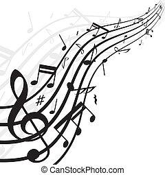 hangjegy, zene, háttér