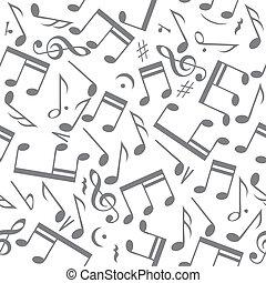hangjegy, zene, seamless, háttér