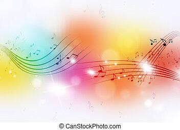 hangjegy, zene, sokszínű, háttér