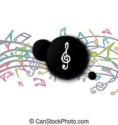 hangjegy, zene, színes