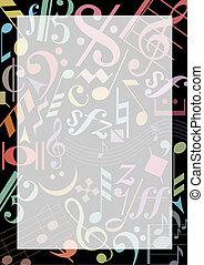 hangjegy, zene, színezett