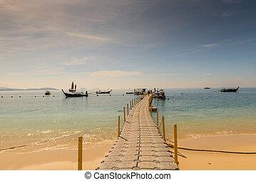 hanglejtés, film, -, kilátás, közül, a, pontone, noha, csónakázik, alatt, thaiföld, képben látható, a, sziget, közül, hong