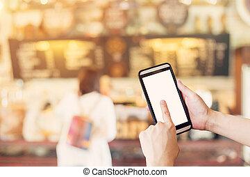 hanglejtés, kávécserje, smartphone, shop., szüret, photo., elken háttér, használ, kéz