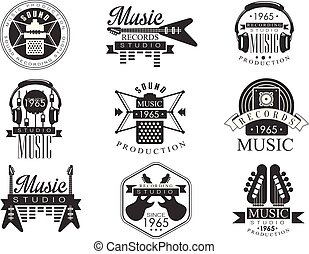 hanglemez, emblémák, zene studio, fehér, fekete
