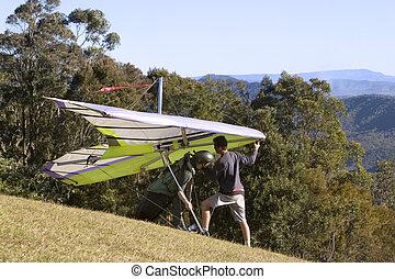 Hanglide takeoff from Mt Tamborine Australia