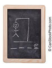 Hangman Help - The game hangman on a blackboard with the...