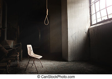 Hangman Noose with thirteen loops setup in an abandoned...