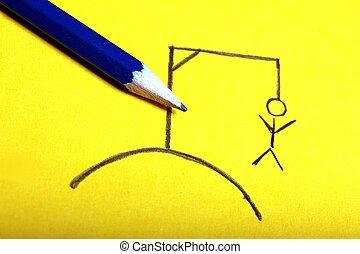 hangman pencil drawing