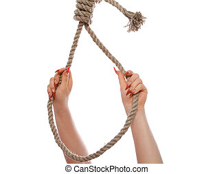 hangman's noose - The beautiful female hand, embraces a loop...