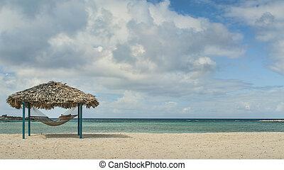 hangmat, hut, strand, &