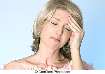 Hangover, Headache, Pain - Female with hand to temples due ...