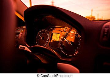 hangsúly, autó, távolságmérő, rendes, műszerfal, gyorsaság, piros