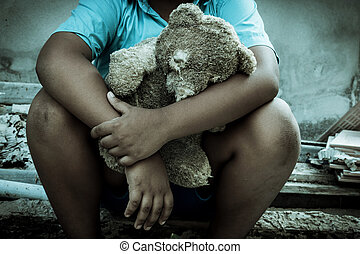 hangsúly, fiú, öreg, teddy-mackó, szüret, ülés, hord, egyedül