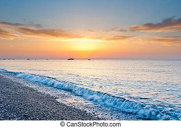 hangsúly, nap, felett, napfény, sárga, reggel, tenger