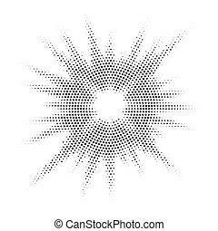hangsúly, szüret, ábra, kéz, vektor, fél, húzott, rövid napsütés