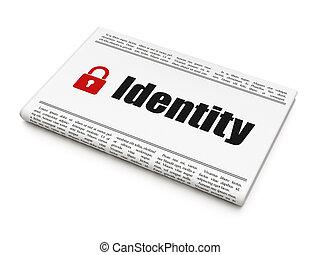 hangslot, bescherming, concept:, gesloten, krant, identiteit