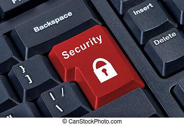 hangslot, knoop, veiligheid, teken., toetsenpaneel