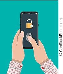 hangslot, smartphone, gesloten, vingerafdruk