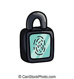 hangslot, vingerafdruk, moderne, glas, digitale , veiligheid, display
