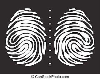hangslot, vorm, keyhole, vingerafdruk