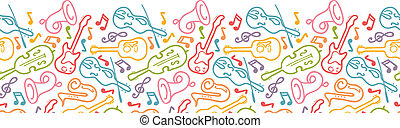 hangszerek, horizontális, seamless, motívum, határ