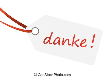 hangtag with text DANKE !