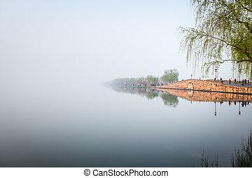 hangzhou broken bridge in west lake - in the early morning...