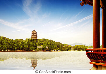 Hangzhou, China - hangzhou scenery,pagoda on the west lake...