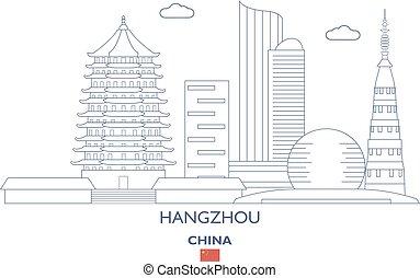 Hangzhou City Skyline, China - Hangzhou Linear City Skyline,...